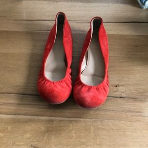 Red J Crew flats size 9
